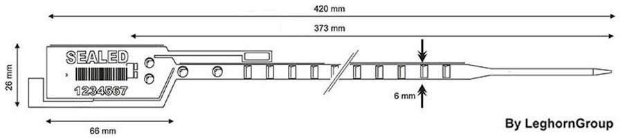 ρυθμιζόμενες πλαστικό κλείδωμα long seal 6×420 mm τεχνικο σχεδιο