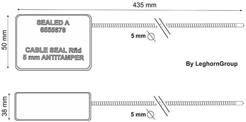 σφραγίδα με συρματόσχοινο rfid υψηλής ασφαλείας τεχνικο σχεδιο