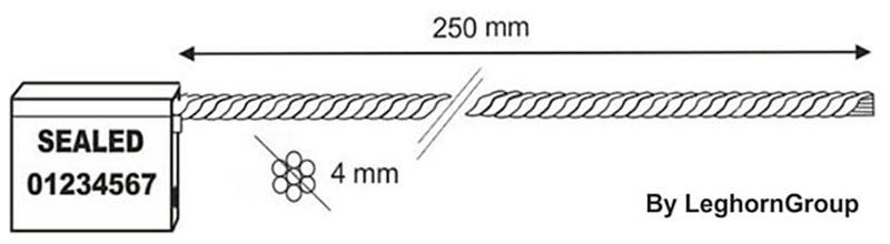 σφραγίδες με συρματόσχοινο 4×250 mm τεχνικο σχεδιο